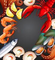 Bannière de jeu de fruits de mer vecteur