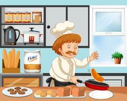 Chef cuisinant dans une cuisine vecteur