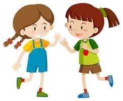 Deux filles heureux jouant vecteur