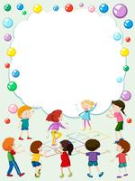 Modèle de bordure avec des enfants jouant à la marelle vecteur