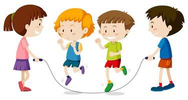 Joyeux enfants jouant au jumprope vecteur