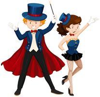 Magicien et son assistant en costume bleu vecteur
