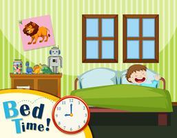 Jeune garçon au lit vecteur