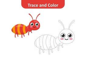 trace et couleur pour les enfants, vecteur de fourmi
