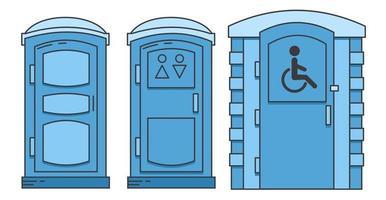 toilettes bio portables mobiles. toilettes pour personnes handicapées. ensemble d'icônes. vecteur