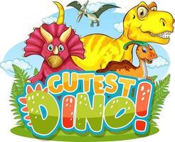 typographie de mot dino la plus mignonne avec le personnage de dessin animé de groupe de dinosaures vecteur