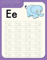 feuille de calcul de traçage de l'alphabet avec les lettres e et e vecteur