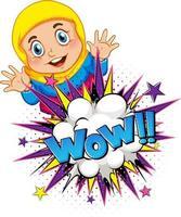 wow mot sur l'explosion d'une bombe avec un personnage de dessin animé de fille musulmane isolé vecteur