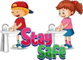 restez en sécurité logo avec deux enfants se lavant les mains avec du savon isolé vecteur