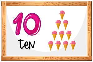 Comptez jusqu'à 10 concept de crème glacée vecteur