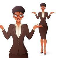 Une femme d'affaires noire confuse haussant les épaules vector illustration