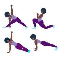 une femme noire fait du yoga ou du fitness. illustration vectorielle vecteur