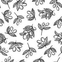 modèle sans couture d'huile d'olive. motif de branche d'olivier. vecteur