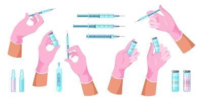 mains de docteur avec seringue, bouteille avec vaccin vecteur