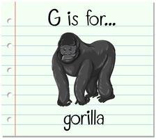 Flashcard lettre G est pour le gorille vecteur