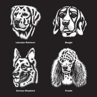 têtes de chien de différentes races graphique vectoriel sur fond noir