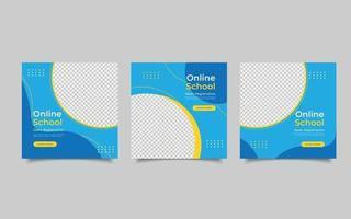 modèle publication sur les médias sociaux inscription ouverte école en ligne vecteur