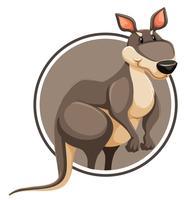 Un kangourou sur un modèle de cercle vecteur