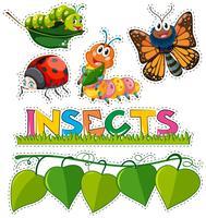 Ensemble d'autocollants avec différents insectes dans le jardin vecteur