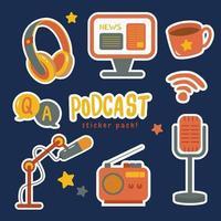 pack d'autocollants mignons podcast vecteur