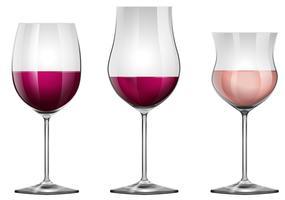Trois verres à vin avec du vin vecteur