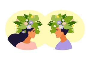 santé mentale, bonheur, concept d'harmonie. vecteur