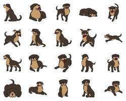 illustration vectorielle de dessin animé mignon jeu d'icônes plat d'un gros chien. vecteur