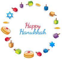 Modèle de carte Happy Hanukkah avec des jouets et des beignets vecteur