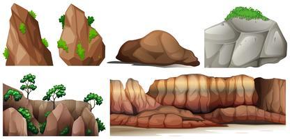 Scène de la nature avec des rochers et des canyons vecteur