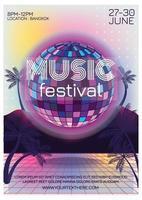 affiche du festival de musique dété de boule disco vecteur