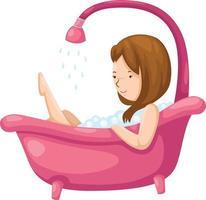 Femme se baignant dans la baignoire illustration sur fond blanc vecteur