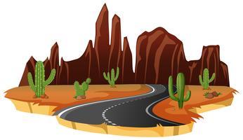 Une route isolée du désert vecteur