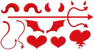 Éléments d'ange et de diable en rouge vecteur