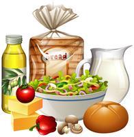 Un ensemble d'aliments sains vecteur