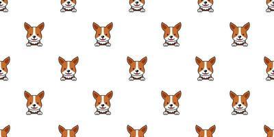 personnage de dessin animé chien corgi visage sans soudure de fond vecteur
