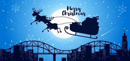 Joyeux Noël carte Père Noël en traîneau
