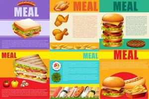 Infographie aliments sains et fastfood