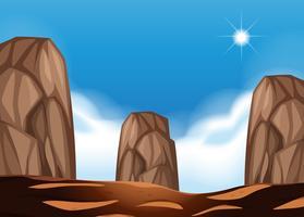 Scène de désert avec gros rochers vecteur