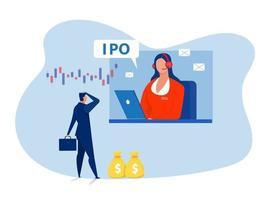introduction en bourse, introduction en bourse. homme d'affaires offre d'investir sur un ordinateur portable vecteur