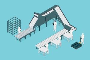 ligne de traitement dans l'isométrique de l'usine alimentaire. industrie alimentaire vecteur
