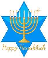 Modèle de carte Happy Hanukkah avec étoile bleue et lumières vecteur