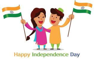 jour de l'indépendance en Inde. carte de voeux avec des personnages de dessins animés drôles vecteur