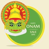 visage kathakali avec une couronne lourde pour la célébration du festival d'onam. vecteur