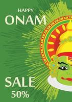 visage kathakali avec une couronne lourde pour la célébration du festival d'onam vecteur