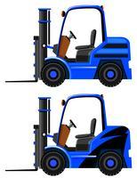 Deux modèles sur des chariots élévateurs bleus vecteur