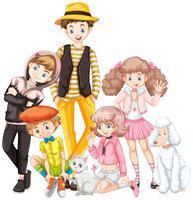 Groupe d'adolescent et animal de compagnie