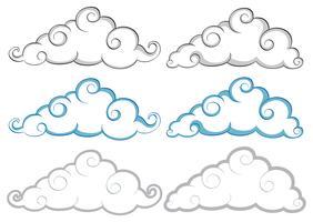 Différentes formes de nuages sur fond blanc