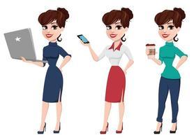 ensemble de jeune femme d'affaires de dessin animé. belle dame avec ordinateur portable vecteur