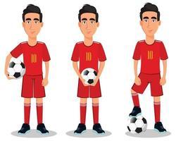 joueur de football en uniforme rouge. vecteur