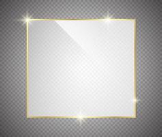 cadre brillant brillant de luxe en or avec des ombres isolées sur transparent vecteur